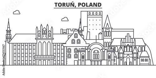 Fototapeta Poland, Torun architecture line skyline illustration. Linear vector cityscape with famous landmarks, city sights, design icons. Editable strokes