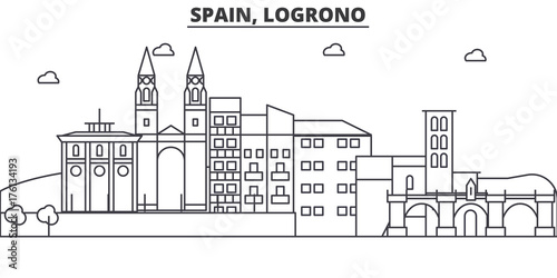 Spain, Logrono architecture line skyline illustration. Linear vector cityscape with famous landmarks, city sights, design icons. Editable strokes