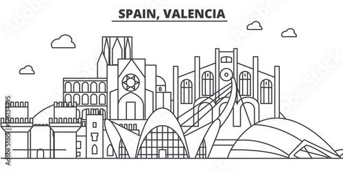 Spain, Valencia architecture line skyline illustration. Linear vector cityscape with famous landmarks, city sights, design icons. Editable strokes