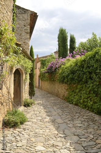 Poster Smal steegje Narrow cobblestone alley in Peratallada, Girona, Spain