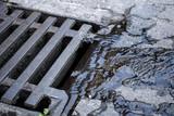 Wasser / Regenwasser fliesst in Kanal Deckel - 176141150