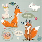 set with cute fox and hare with floral elements - 176143764