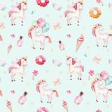Isolated cute watercolor unicorn pattern. Nursery rainbow unicorns aquarelle. Princess unicornscollection. Trendy pink cartoon horse. - 176145303