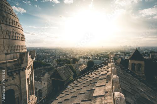 Sticker Evening Light on Sacre-Coeur and the City - Paris