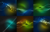 Set of particles smoke wave backgrounds - 176145553