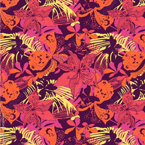 wallpaper seamless flower pattern - 176146985