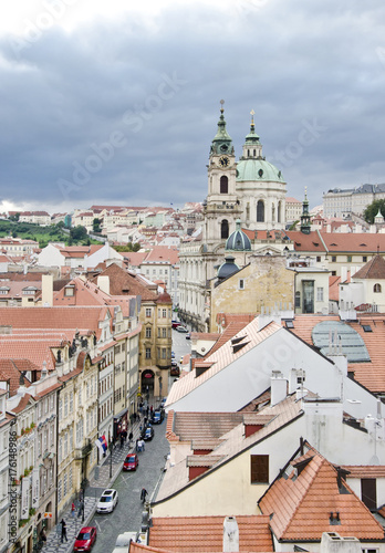 Poster Praag Prague. View from the Little Quarter Bridge Tower to the Cathedral of St. Nicholas