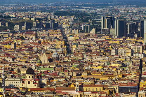 Spoed canvasdoek 2cm dik Napels Italy. Historic Centre of Naples (UNESCO World Heritage Site) seen from Castle Sant'Elmo