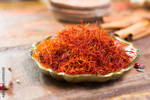 Real red dried saffron spice, tasty ingredient for many dishes Poster