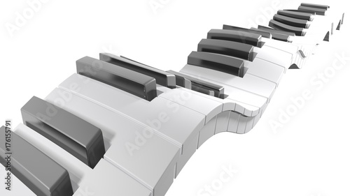 Fototapeta Keyboard of a piano waving on white background - 3D rendering