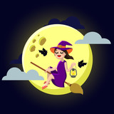 Happy Halloween. Little Witch on a broom. Cute girl and bats. Vector illustration of a flat design. - 176160718