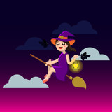 Happy Halloween. Little Witch on a broom. Cute girl and bats. Vector illustration of a flat design. - 176160738