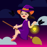 Happy Halloween. Little Witch on a broom. Cute girl and bats. Vector illustration of a flat design. - 176160758