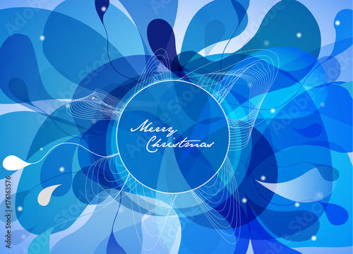 Fotobehang Abstractie Christmas background with blue bubbles and simple Merry Christmas text.