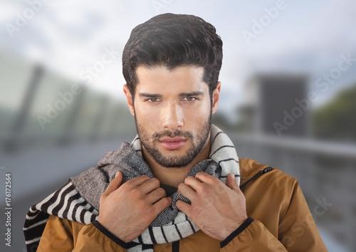 Fototapeta Man wearing scarf on bridge