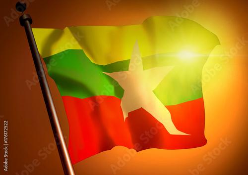winner waving Burma flag against the sunset Poster