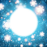 Blue winter background with snowflakes. - 176172972
