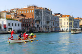 VENICE, ITALY - circa MAR, 2016: Rowing team durint training at Canal Grande in Venice, Italy