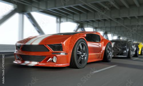 Foto op Plexiglas Motorsport Exotic race car high speed showdown over a city bridge.Generic vehicles. 3d rendering.