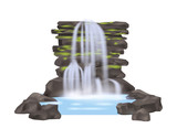 River waterfall icon in flat stle. Nature landscape design element, water cascade isolated vector illustration.