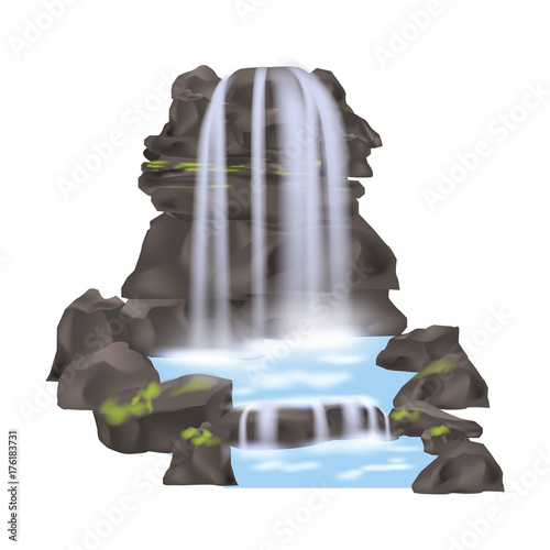 Mountain waterfall icon in flat stle. Nature landscape design element, river cascade isolated vector illustration. - 176183731