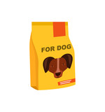 Dog preserved food pack icon. Pet store element, vet care accessory isolated vector illustration in flat style.