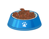 Pet preserved food in plastic bowl icon. Pet store element, vet care accessory isolated vector illustration in flat style. - 176183924
