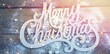 Merry Christmas text with artificial snow