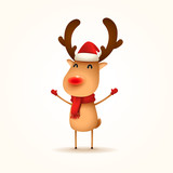 The Red-nosed Reindeer. Vector illustration of Reindeer on white background. Isolated. - 176187574