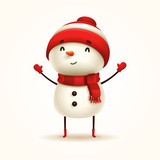 Cheerful Snowman. Vector illustration of snowman on white background. Isolated. - 176187579