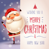 Santa Claus with big signboard. Merry Christmas calligraphy lettering design. Creative typography for holiday greeting. - 176187747