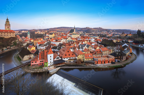 Historic old town in Cesky Krumlov, Czech republic, travel destination, winter Poster