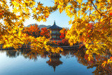 Gyeongbokgung Palace With maple leaves in the fall colors, Seoul, South Korea - 176190796
