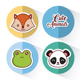 cute animals icon set over colorful circles and white background colorful design vector illustration - 176190961