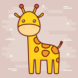 cute giraffe icon over brown background colorful design vector illustration - 176190982