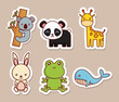 cute animals icon set over brown background colorful design vector illustration