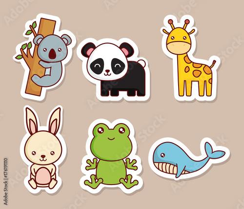 Fototapeta cute animals icon set over brown background colorful design vector illustration