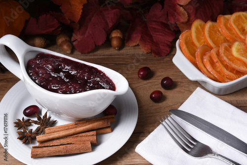 Poster Cranberry Sauce on Thanksgiving Table