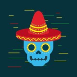 day of the dead blue skull with mexican hat ornament vector illustration - 176191351