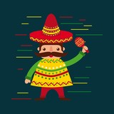 cartoon mexican man in a hat with maraca and poncho vector illustration - 176191553