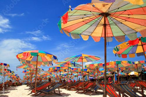 Deurstickers Amusementspark Umbrella Beach Chairs