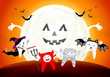 Funny cute cartoon tooth character. witch, devil, mummy and bat in moon night, happy Halloween concept. Design for banner, poster, greeting card. Illustration.