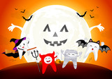 Funny cute cartoon tooth character. witch, devil, mummy and bat in moon night, happy Halloween concept. Design for banner, poster, greeting card. Illustration. - 176195751