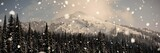 Snow capped mountain with pine trees - 176196712