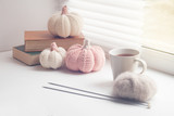 Autumn cozy window composition, Window at home. Book, cup, needles, yarns ball and knitted pumpkins, toned photo