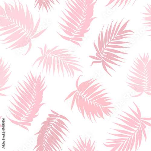 Pink camouflage jungle rainforest palm tree leaves isolated on white background. Exotic tropical seamless pattern texture. Feather fan shaped branch. Vector design illustration. - 176199516