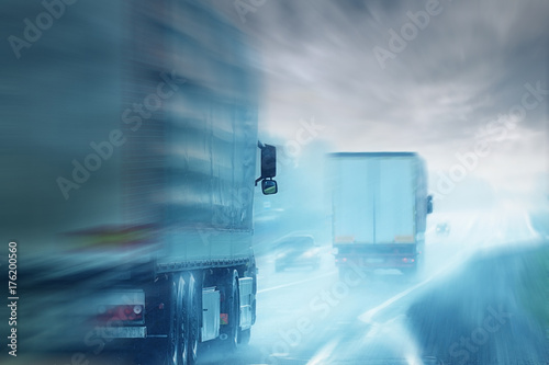 Poster Trucks road logistic sky traffic