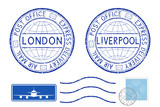 Blue postal elements. London and Liverpool postmark and stamps - 176201320