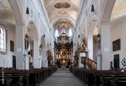 interior of the church Ober Pharkirche with the baroque altar in Bamerg in Germany