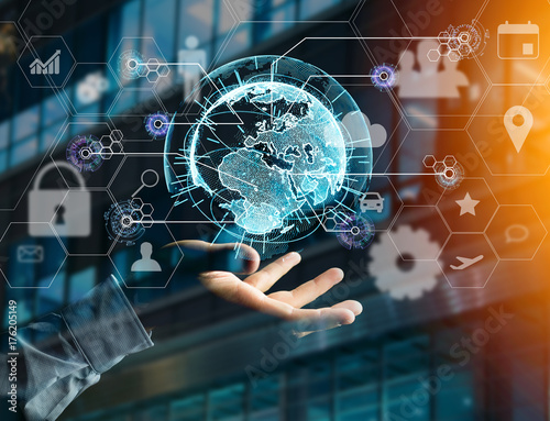 Fridge magnet International business network connection displayed on a futuristic interface with technology icon and sphere globe - Worldwide business concept